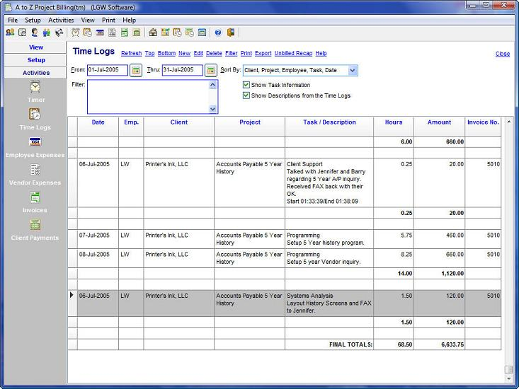 A To Z Project Billing - Timekeeping and invoicing software